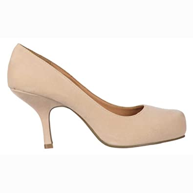 Ladies Womens Low Kitten Heel - Court Shoes - Nude Suede UK 4 ...